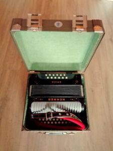 VERY RARE BLACK Hohner Erica 12-Bass C/F Diatonic Accordion + New Case + Straps
