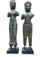 Bronze Statue Khmer König Paar Kambodscha Skulptur Metall Asiatika Asien antik