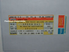 GREEN DAY Unused '01 Concert Ticket CHICAGO ARAGON BALLROOM Billie Joe Armstrong