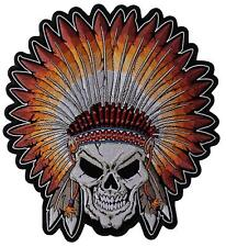 """Skull Native Indian Head Dress Large Patch 11"""" x 10"""" FAST SHIPPING"""