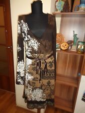 DESIGUAL STRETCH JERSEY BROWNS FLORAL PRINT EMPIRE  DRESS #36V2001-SIZE L