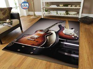 3D Guitar Electric - Area Rug Decor Floor Living Room, Music Lover, Carpet USA