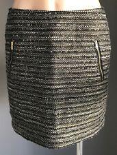 ESPRIT Gold/Grey/Black/White Tweed Low Waist Mini Skirt w Zip Trim Size 10