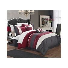 6 Piece Comforter Set Queen Size Bedding Ensemble Chic Decorative Burgundy