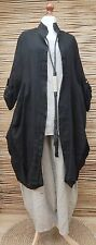 LAGENLOOK LINEN/COTTON LAYERING QUIRKY BOHO JACKET/COAT**BLACK**SIZE L-XL-XXL