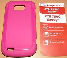 Straight Talk Gel Case for ZTE 750C Savvy, one part Pink Matte slip on, NEW