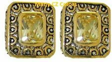 cz cable earrings yellow white18 kt yellow gold plate two 2 tone quality NWT