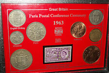 Le paris postal conference centenaire uk gb coin & stamp collector gift set 1963