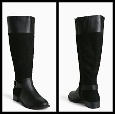 Torrid 12W Black Quilted Faux Leather Trim Knee High Boots Wide Calf #71