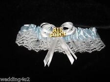 Wedding Ceremony Reception Party U.S. Air Force Military Satin Garter Blue Toss