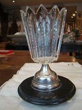 Vase en cristal ,métal et bois  ,époque XIXe ,  hauteur 16,4 cm