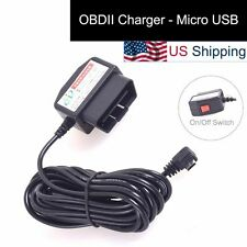 OBDII Charging Cable Micro USB Power Adapter w/ Switch to Dash Cam DVR Phone Tab