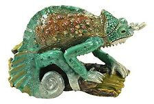 Enameled Chameleon on Branch Trinket Box by Kubla Craft, Accented with Crystals,