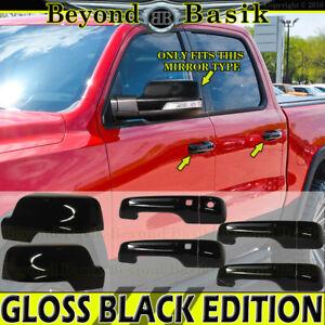 For 2019-2021 Dodge Ram 1500 Door Handle COVERS W/2SK+Mirrors W/TSH GLOSS BLACK