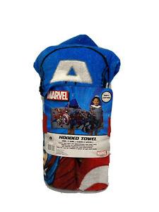 "Marvel Avengers Captain America Kids Hooded Bath Towel Wrap 100% Cotton 25""x 50"""