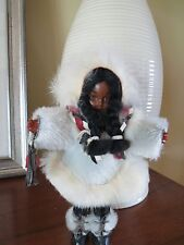 """Eskimo Doll Braids in White Fur Coat  and leather. coat, parka, boots 8"""""""