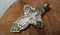 """ANTIQUE SOLID SILVER 84 RUSSIAN ORTHODOX """"OLD BELIEVERS"""" ENAMELED CROSS PENDANT"""