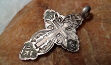 "ANTIQUE SOLID SILVER 84 RUSSIAN ORTHODOX ""OLD BELIEVERS"" ENAMELED CROSS PENDANT"