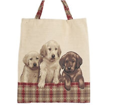 Signare Tapestry Dog Eco Tote Carry Bag - 3 Puppies Approx 40x30cm