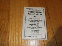 SEPTEMBER 1961 SOUTHERN PACIFIC SAN FRANCISCO TO LOS GATOS PENINSULA TIMETABLE