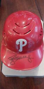 Perfect 10 Roy Halladay OML baseball mini helmet JSA COA Phillies
