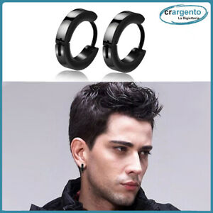 orecchini cerchio uomo acciaio inox cerchietti orecchino piccoli neri da in per