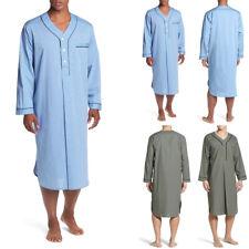 Men Nightwear Pajamas BathRobe Long Sleeve Nightshirt Kaftan Sleepwear Nightgown