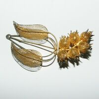 Fine Filigree brooch Lily of the valley suzuran flower gold gilt silver pin
