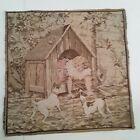 Vtg Hanging Tapestry 20X20 Girl Dogs