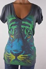 Nollie The Basic Tee Womens Gray Tiger T-Shirt size S Small