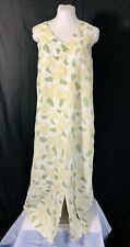 FLAX 100% Linen Maxi Dress Small Sleeveless White Green Floral