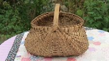 Antique Primitive Oak Splint Butt Buttock Egg Hand Crafted Basket AAFA Patina