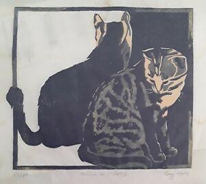 Zwei Katzen, 2 farbiger Holzschnitt, undeutlich SIGNIERT u.datiert