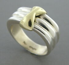 TIFFANY & Co. 18K GOLD STERLING SILVER BAND RING SIZE 4.5