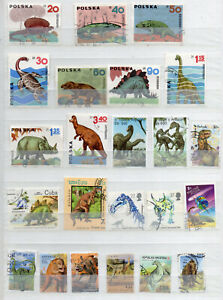 DINASAURS on STAMPS 41 DIFFERENT  USED STAMPS