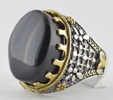 Yemen Transparent Black Aqeeq Agate Stone, Islamic Silver Men Ring, Yemeni Aqiq