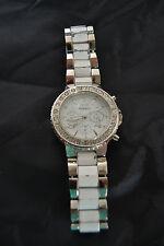 Style & Co Watch, Women's Silver- Tone Enameled White Bracelet SC1128