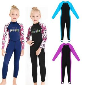 Girls Wetsuit Child Surfing Long Sleeves UV Protection Swimsuit Swimming Costume