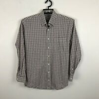 Peter Millar Mens Plaid Button-Up Shirt Long Sleeves Brown Gray Cotton Sz M