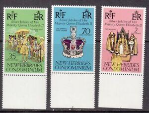 1977 New Hebrides English version Queen Elizabeth 11 Silver Jubilee set of 3 min