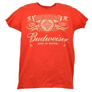 Budweiser Lager Beer Tshirt Tee Womens Ladies Red Drink Short Sleeve Alcohol