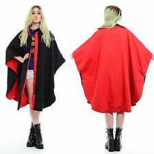 Vintage 80s Wool REVERSIBLE Avant-Garde Batwing Draped CAPE Swing Coat Jacket