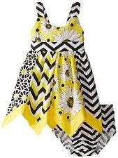 Bonnie Jean Baby Girls Sunflower & Chevron Print Hanky Hem Summer Dress 12 Mths