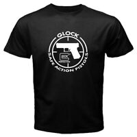 GLock Perfection Save Action Pistols Hand Gun Men's Black / White T-shirt S-2XL