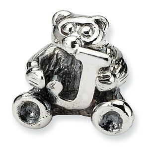 Letter J Teddy Bear Kids Bead .925 Sterling Silver Antiqued Reflection Beads