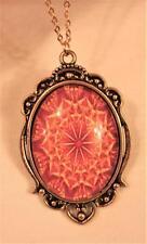 Mandala Scallop Rim Goldtone Necklace Striking Orange Yellow Peach Starburst