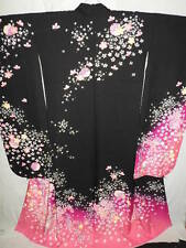 "LARGE! Black Silk ""Furisode"" w/Sakura, Yukiwa, Gold Emb B156"