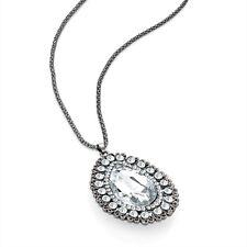 Hematite Grey Colour Crystal Diamante Teardrop Pendant Long Chain Necklace