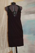 NWT Versace Jeans Couture Black Bodycone V-neck Lace Trim Size G/L Made in Italy