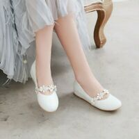 Womens Casual Round Toe Flower Flats Ballet Comfort Faux PU Sweet Lady Shoe Size